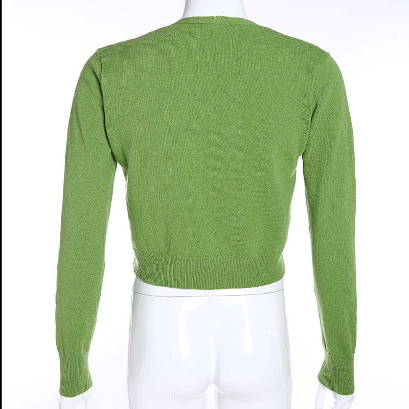 Sweetown الأخضر اقتصاص النساء البلوزات واحدة الصدر طويلة الأكمام سترة سترة موهير الكورية نمط المرأة محبوك سترة الخريف