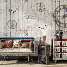 3d Vintage Old Wood Grain Wallpaper Roll Wood Board Plank Letters Feature Wall paper Cafe Store Background(China)
