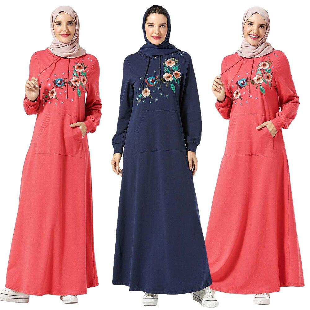 Mode Femmes Maxi Robe Musulmane décontracté Sport Lâche Caftan Islamique Cocktail Broderie Sweat Turquie Vintage Longue Robe Robe
