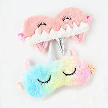 1pc New Unicorn Eye Mask Cartoon Sleeping Mask Plush Eye Shade Cover Eyeshade Suitable For Travel Home Party Gifts
