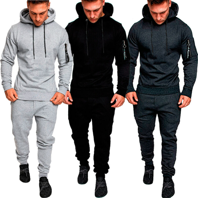 Autumn Mens Tracksuit Top Bottom Sport Jogging Sweat Suit Trousers Pant Hoodie Coat M-2XL