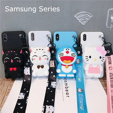 For Samsung S7 S7Edge A8 A7 A9 A6 A20 20 50 70 80 J4 J6 J8 Cover Wallet Lucky Cat Kt Cat Soft TPU Silicone Case(China)