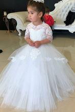 Новинка бальное платье с рукавом 3/4 тюлевые платья цветами