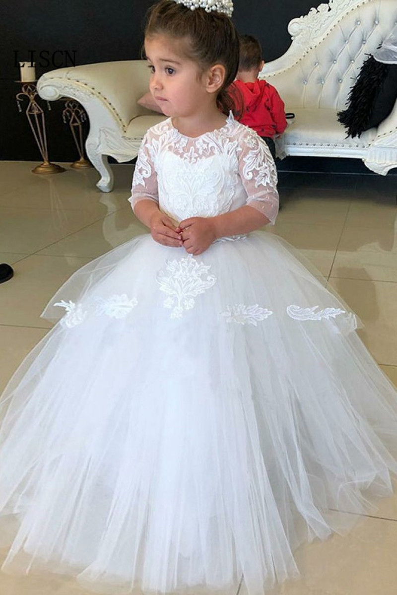New 3/4 Sleeve Ball Gown Tulle   Flower     Girls     Dresses   White 3D Lace Wedding Party Princess Kids Pageant Communion Birthday Fashion