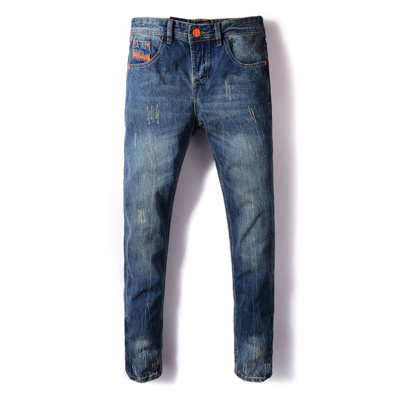Fashion Streetwear Men Jeans Straight Fit Blue Color Ripped Jeans Men Classical Denim Pants Orange Stripe Designer Vintage Jeans