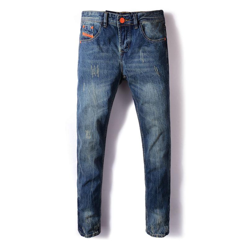Fashion Streetwear Men Jeans Straight Fit Blue Color Ripped Jeans Men Classical Denim Pants Orange Stripe Designer Vintage Jeans