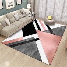 Nordic style black pink color Parlor carpet geometric pattern bedroom plush rug non-slip floor mat custom made door