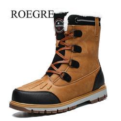 2019 invierno con botas de nieve de piel para hombre Zapatillas Hombre Zapatos adultos Casual calidad impermeable tobillo-30 grados Celsius botas