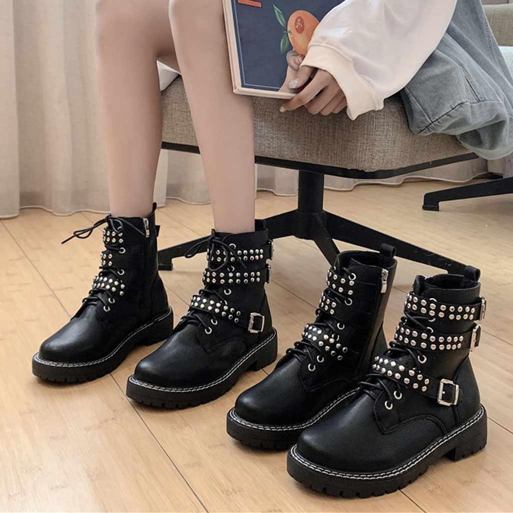 Botas de motocicleta de mujer con hebilla negra, zapatos de