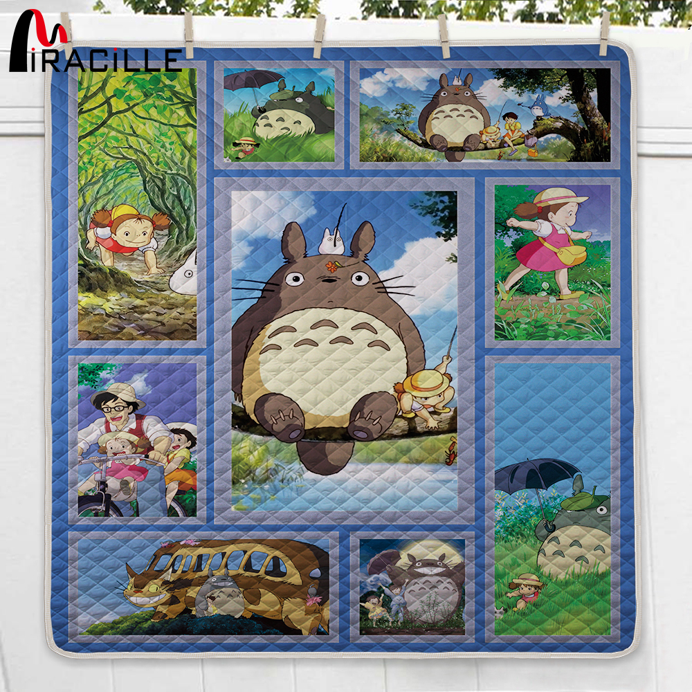 Miracille Lovely Totoro Bedding Set Kids Colorful Cartoon Print Quilt King Queen Children Bedroom Bedclothes