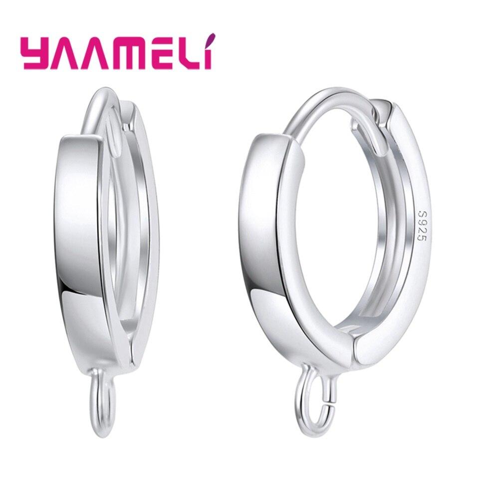 Luxury 925 Sterling Silver Simple Loop Hoops Earrings For DIY Making Jewelry Findings Supplies High Quality