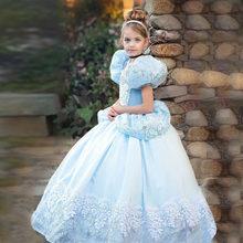 Capas Deluxe Cenicienta vestido de ropa para niñas Navidad disfraz de fiesta de Halloween de cumpleaños de los niños vestido de boda 3 6 8 10 años