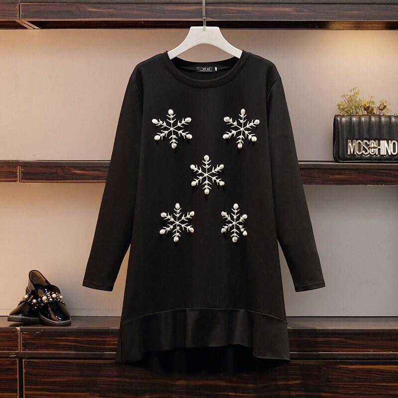 XL-5XL grande taille femmes Meimaid robe automne 2019 mode flocon de neige imprimer à manches longues lâche décontracté coton perles robes