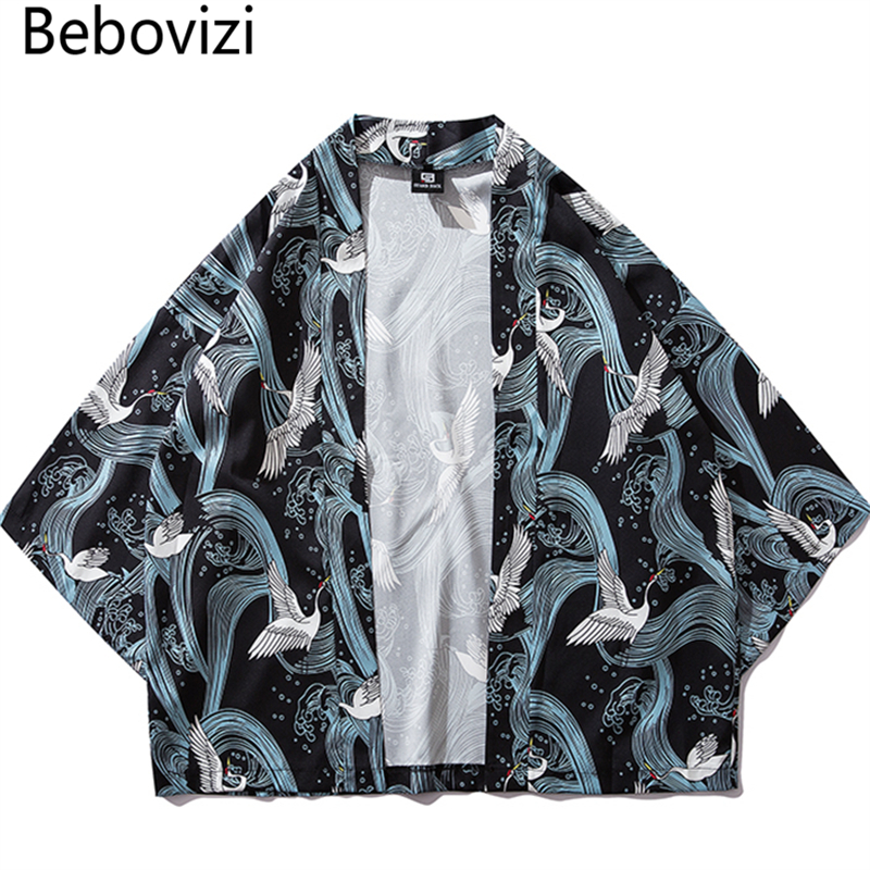 Bebovizi Traditional Clothes Style Kimonos Crane Print Japanese Kimono Cardigan Cosplay Shirt Blouse For Women Men Yukata Robe