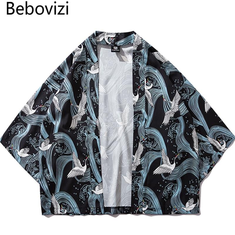 Bebovizi Traditional Clothes Style Kimonos Crane Print Japanese Kimono Cardigan Cosplay Shirt Blouse For Women Men Yukata Robe