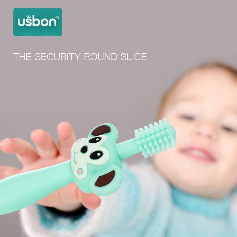 2 เปลี่ยนหัวแปรงสีฟันเด็ก Infantil ทันตกรรม Oral Care ยาสีฟันสูตรเกลือผสมฟลูออไรด์ผสานพลังสมุนไพรฟันขาวสะอาดลดกลิ่นปากรายการเด็กเด็กอ่อนซิลิโคนการฝึกอบรมแปรงของขวัญฐานสำหรับทารกแรกเกิด