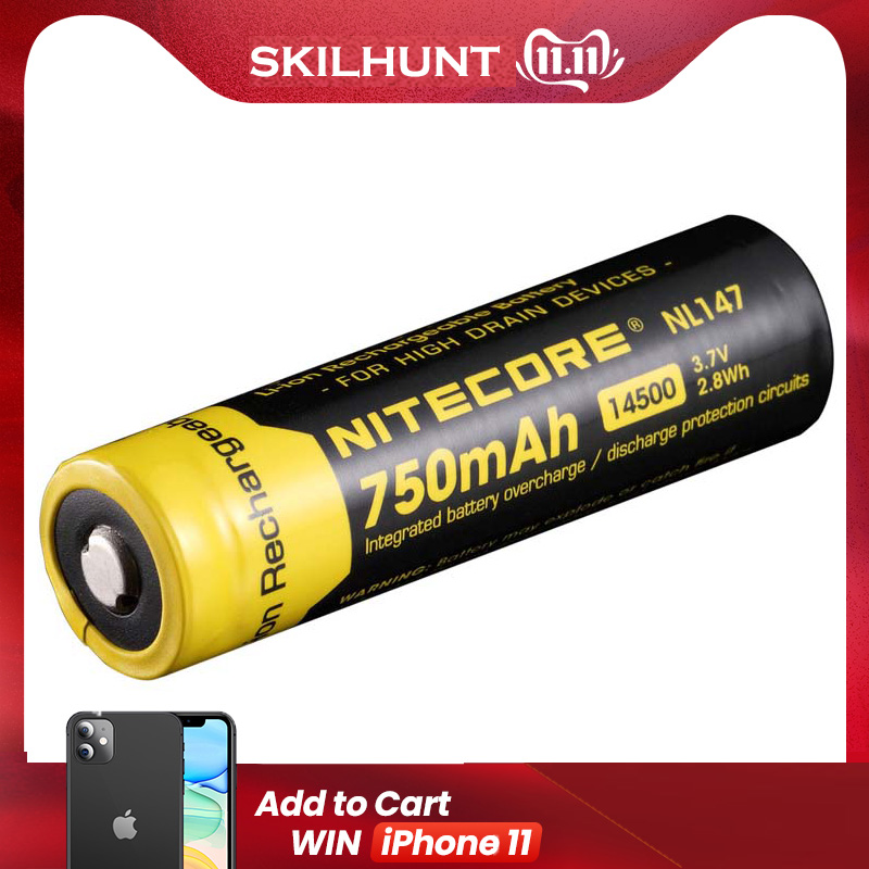 Free Shipping Wholesale NITECORE NL147/NL1485 High-Performance 850mAh Li-ion Rechargerable 14500 Battery For Hight Drain Devices