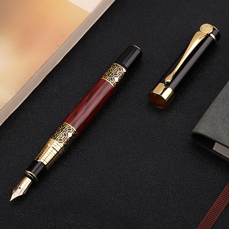 High Quality Classical Fountain Pen Wood Grain Luxury High-grade Business Pen Metal Signature Fountain Pen Writing Stationery