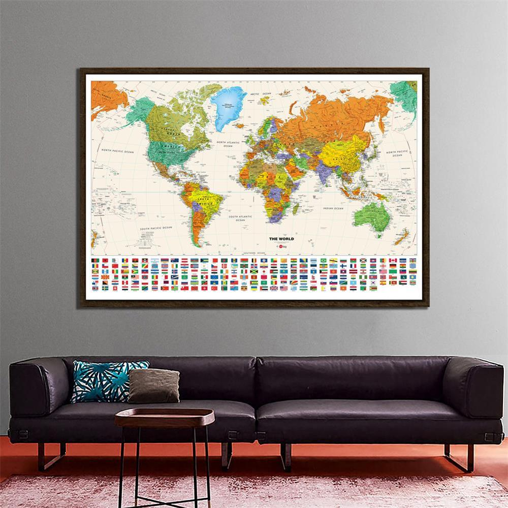 The World Physical Map Hammer Projection With National Flags 150x100cm Non-woven Waterproof Map For Beginner