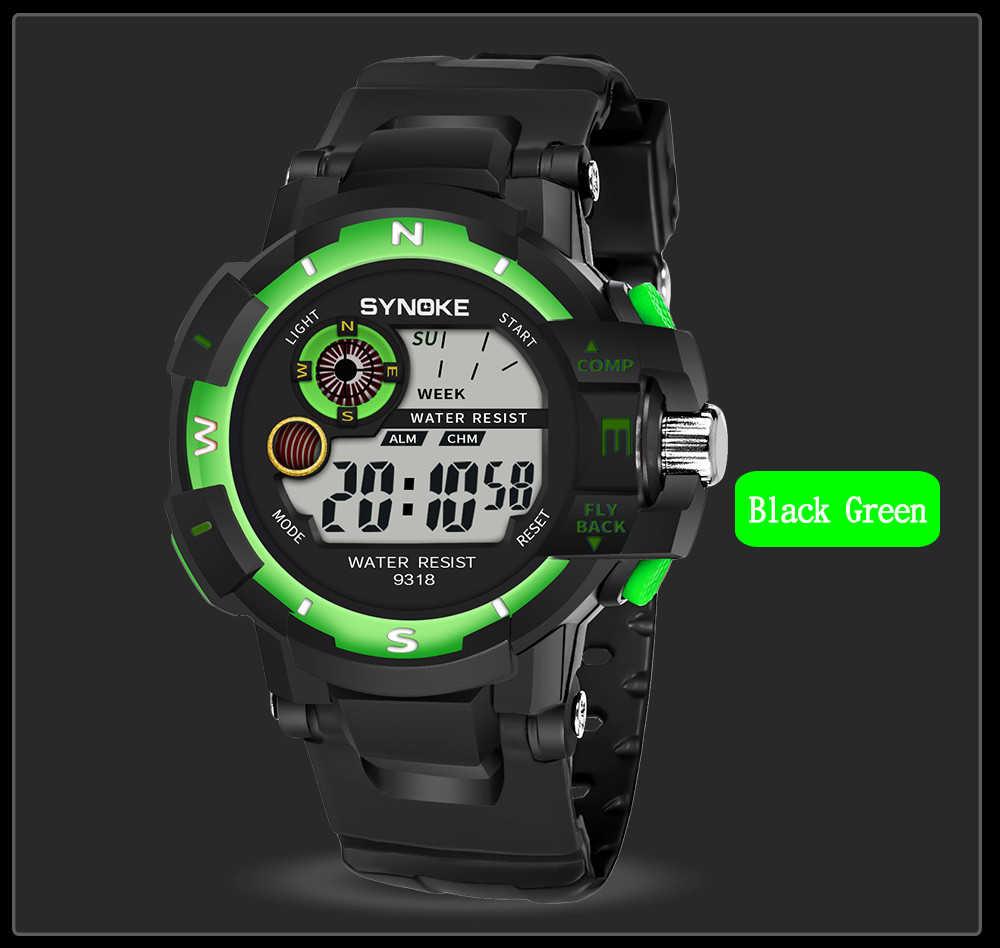 Digital Watch Men Multi Function Military Sports Watch LED Digital Dual Movement Wrist Watch Fashion Casual Round Buckle Relojes