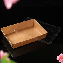 25pcs Natural Brown Kraft Paper Box Gift Salad & Fruit Packaging Wedding Favors Candy Fast Food Bags With PET Cover