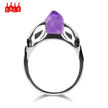 Ring Skeleton Amethyst Size6-10 Cool Skull Women Punk Silver Men Jewelry New Luxury purple Stone Crystal Rings Engagement #ZD(China)