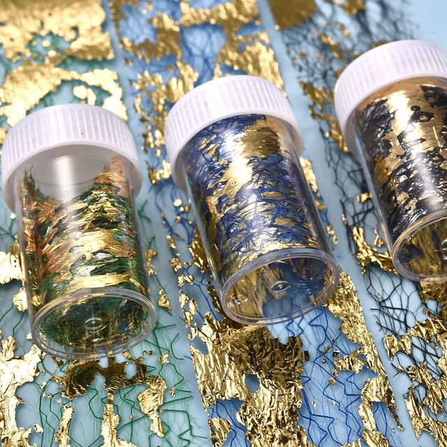 3D Gold Foil Paper Resin Silicone Mold Fashionable DIY Nail Material Colorful Mesh Epoxy Filler Design Decorative Art