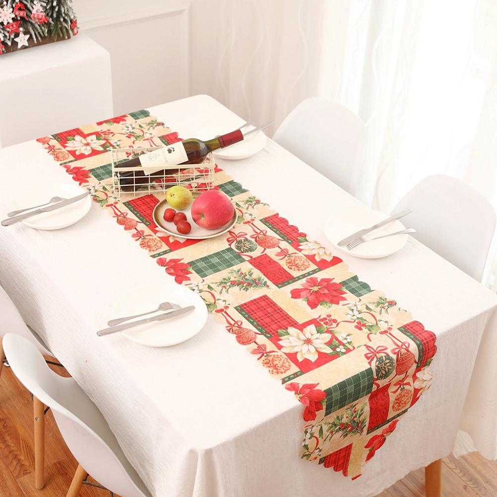 1PC 178x35cm Christmas Series Printing Table Runner For Home Party Decoration