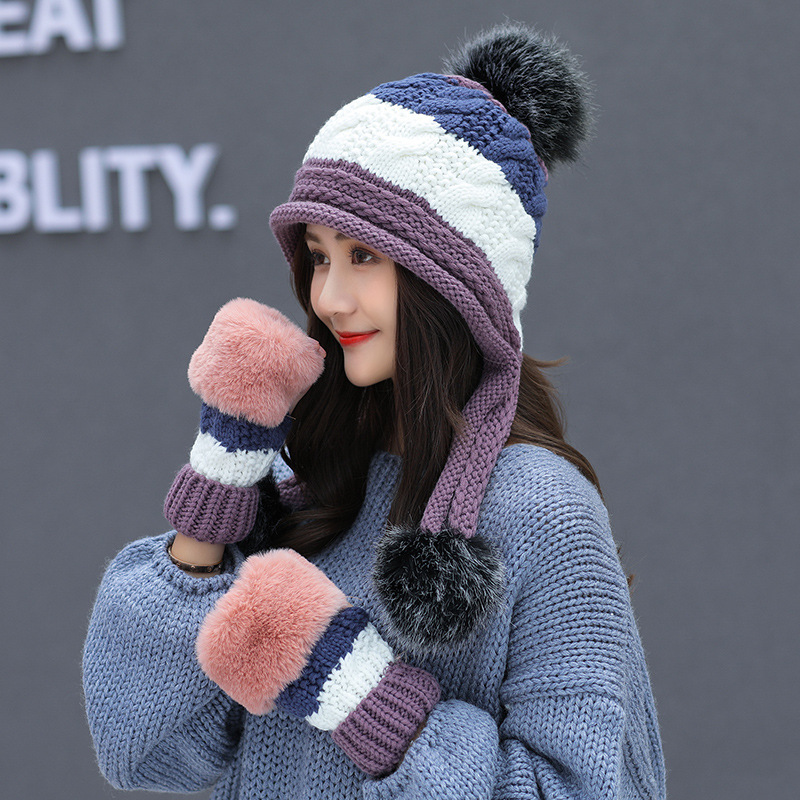 Purple Women's Hat and Gloves set for Women Men Kitted Wool