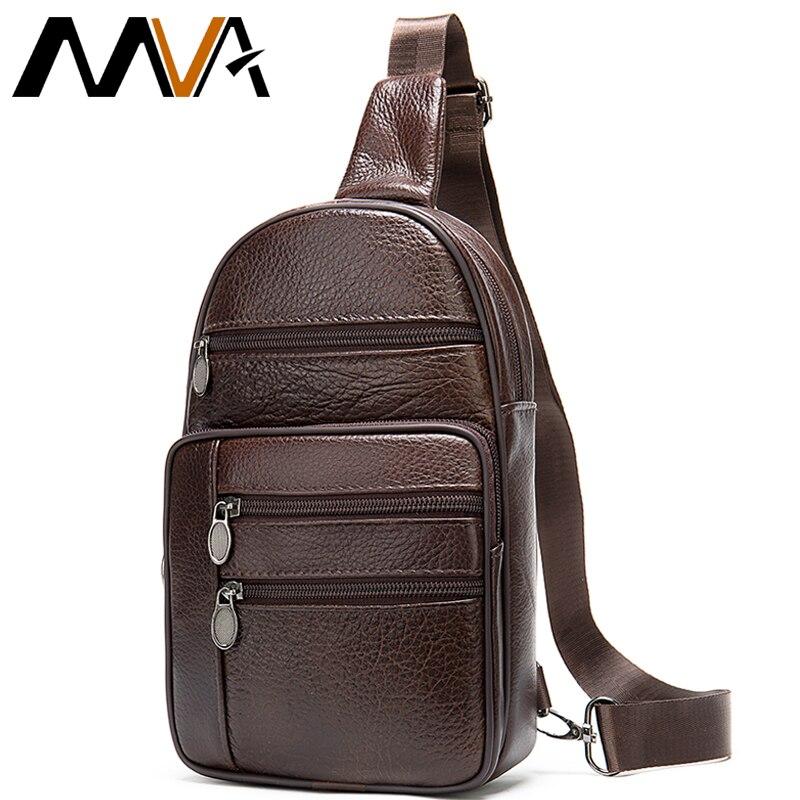 MVA Genuine Leather Men's Shoulder Bag Men's Chest Bag Small Men Crossbody Bags For Men Sling Bags Male Leather Chest Pack Mens