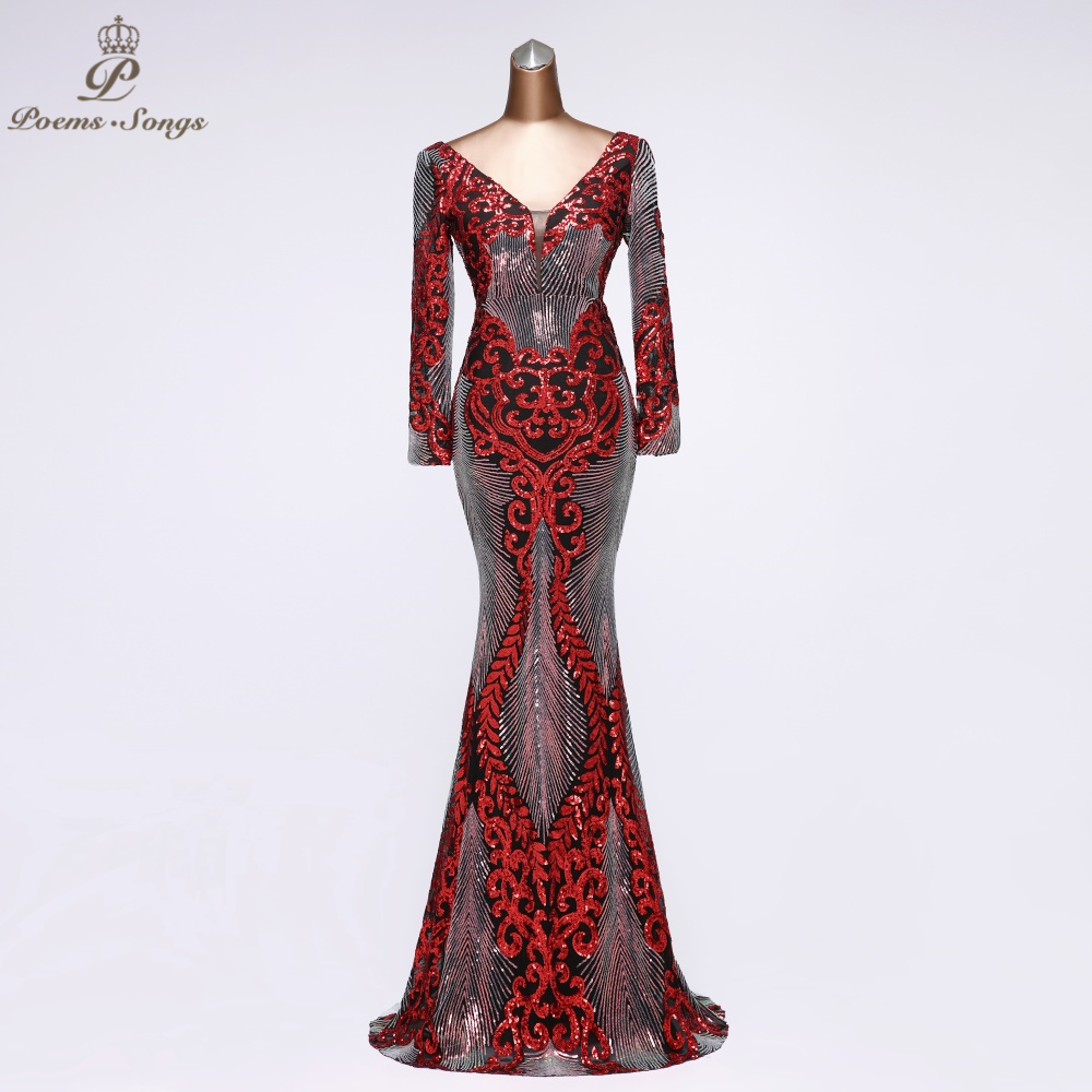 Sexy Sequin Evening Dresses Long With Sleeves Party Dress Robe De Soiree Vestidos De Fiesta De Noche 2020 Prom Dress Women Dress