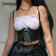 Darlingaga – Streetwear gothique en cuir PU foncé pour femmes, crochet de Style Punk, à porter