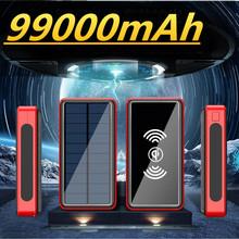 Powerbank na energię słoneczną 99000mAh bezprzewodowa ładowarka QI przenośna ultra-cienka zewnętrzna ładowarka USB o dużej pojemności 4 USB Power Bank tanie tanio ALLPOWERS Bateria litowo-jonowa Z panelu słonecznego Z latarką Cztery USB CN (pochodzenie) Micro Usb USB Typu C Z tworzywa sztucznego