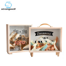 Strongwell Nordic Creative Wooden Art Fresh Piggy Bank Bedroom Desktop Decoration Ornaments Sundries Storage Box Props