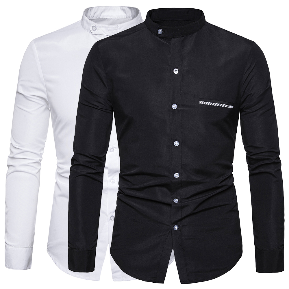 Mandarin Collar Men Shirt Solid Long Sleeve Casual Shirts Business Social White Dress Plus Size Camisas Cotton Men's Top Clothes
