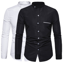 Mandarin Collar Men Shirt Solid Long Sleeve Casual Shirts Bu