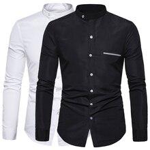 Mandarin Collar Men Shirt Solid Long Sleeve Casual Shirts Business Social White Dress Plus Size Camisas Cotton Men's Top Clothes