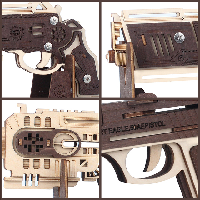 Stem Toys Wooden Guns Model Rubber Band Bullet Assemble Gun Puzzle Game Popular Toy Gift Fun Outdoor Game for Children Adult