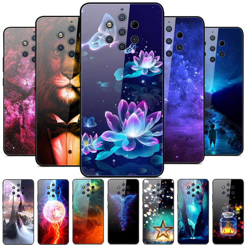 For Nokia 9 PureView Case Tempered Glass Planet Space Cover Glass Back Case for Nokia 9 Pure View Nokia9 PureView Coque Shell