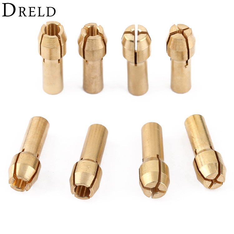 DRELD 8Pcs Mini Drill Chucks Adapter 1/1.6/2.4/3.2mm Dremel Mini Drill Chucks Chuck Adapter Brass Collet For Power Rotary Tool