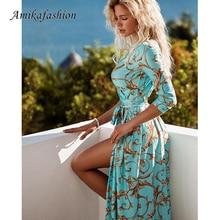 Retro Print Sashes Long Sexy Dress Women Split High Waist Bohemian Maxi Dress 2019 Long Sleeve Summer Beach Dresses Robe Femme tropical print split sleeve elasticized waist dress