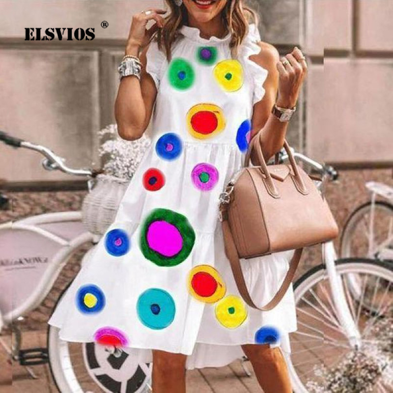 Colorful Dots Print Elegant Summer Dress Women Robe Daisy Print Dresses Sexy O Neck Butterfly Sleeve Vintage Party Dress Vestido