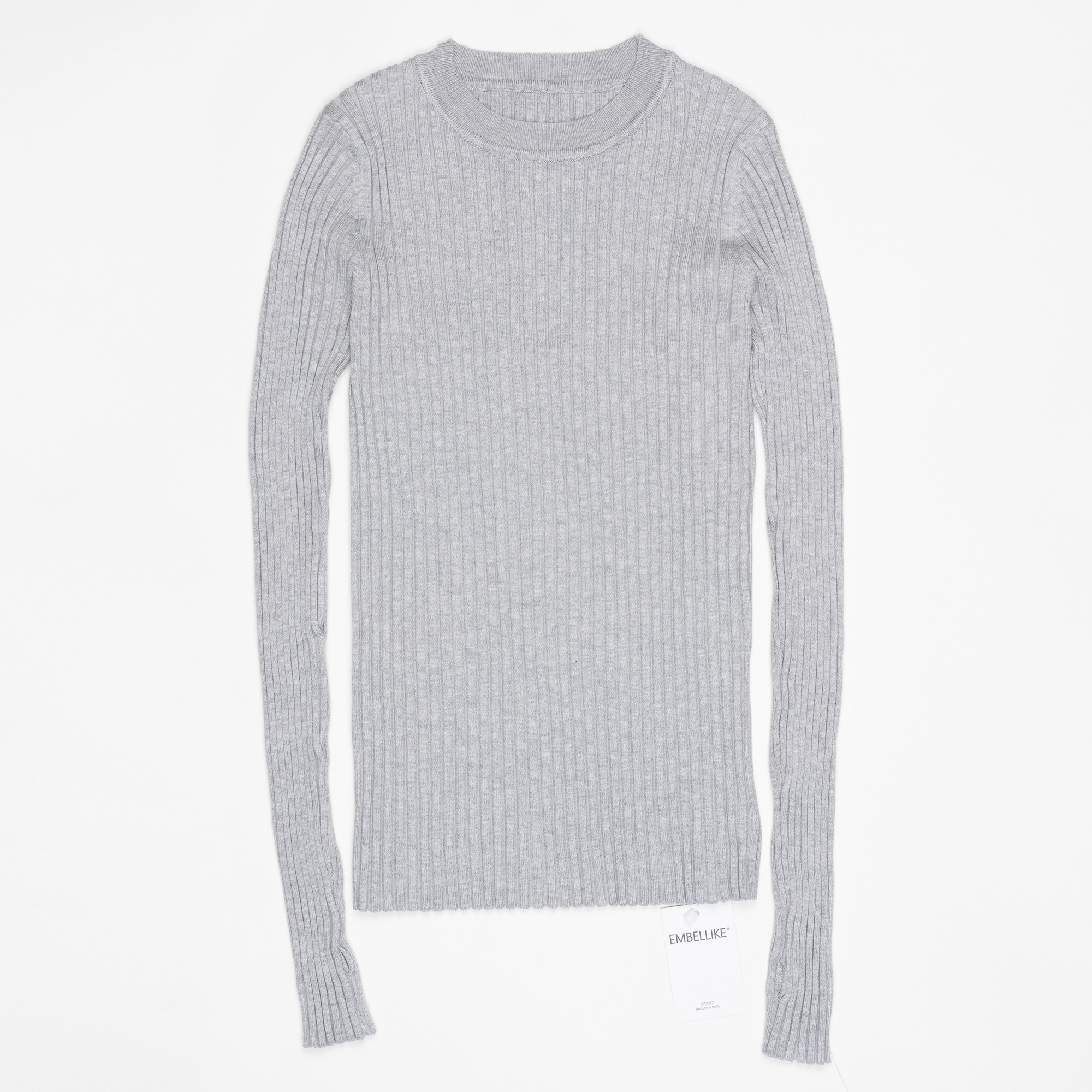 Women Sweater Pullover Basic Ribbed Sweaters Cotton Tops Knitted Solid Crew Neck With Thumb Hole 8