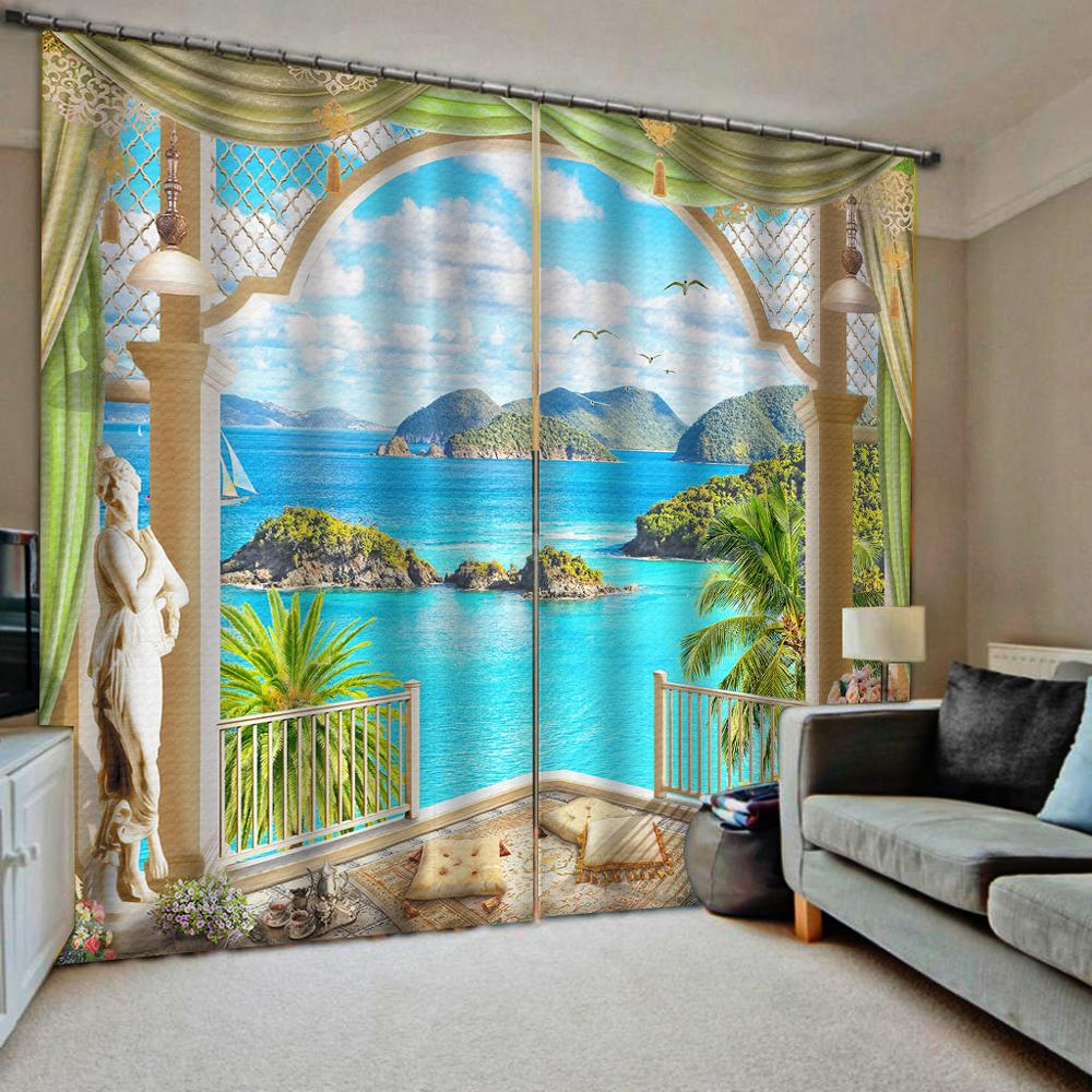 Customized size Luxury Blackout 3D Window Curtains For Living Room landscape nature scenery curtains Blackout curtain