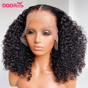 Peruvian Remy Tight Curly Human Hair Wig Kinky Curly Wig 13x4 Lace Front Human Hair Wigs for Black Women 150% 180% 250% Density