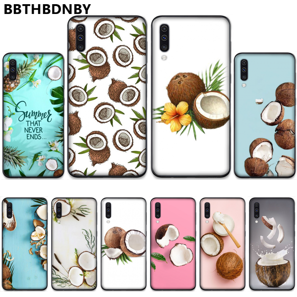 <font><b>Fruit</b></font> Coconut on the beac Coque Shell Phone <font><b>Case</b></font> For <font><b>Samsung</b></font> S6 S7 edge S8 S9 S10 e plus A10 <font><b>A50</b></font> A70 note8 J7 2017 image