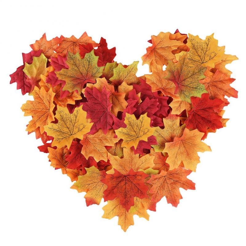 50/100/200 шт. искусственные кленовые листья для свадьбы, поддельные осенние листья, многоузорные, Смешанная упаковка, реквизит для свадебной фо...