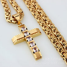 New Fashion Stainless Steel Cross Necklaces Pendant Byzantine For Men Chain Gold Silver Hip Hop Necklace Male Jewelry Gift(China)