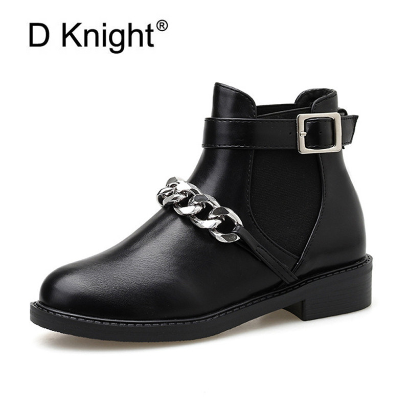 2020 Fashion New Punk Gothic Style Ankle Boots Women Shoes Metal Chain Decoration Short Boots Street Motorcycle Mujer Zapatos