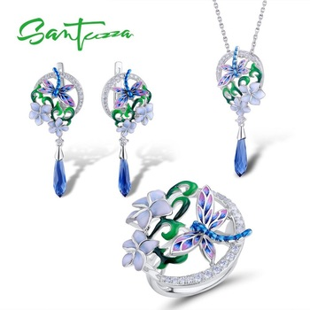 SANTUZZA Jewelry Set 925 Sterling Silver For Woman Dragonfly Flower Ring Earrings Pendant Set Fashion Jewelry HANDMADE Enamel